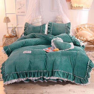 2019新款兔兔絨水晶絨四件套床單款法萊絨魔法絨牛奶絨-黛茜 1.2m床單款三件套 黛茜 灰綠