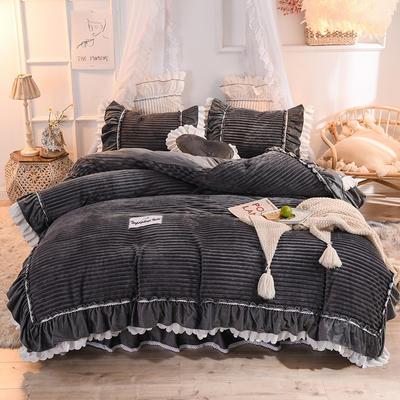 2019新款兔兔絨水晶絨四件套床單款法萊絨魔法絨牛奶絨-黛茜 1.2m床單款三件套 黛茜 魅灰