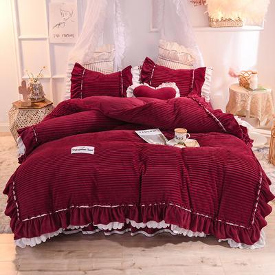 2019新款兔兔絨水晶絨四件套床單款法萊絨魔法絨牛奶絨-黛茜 1.2m床單款三件套 黛茜 蜜紅