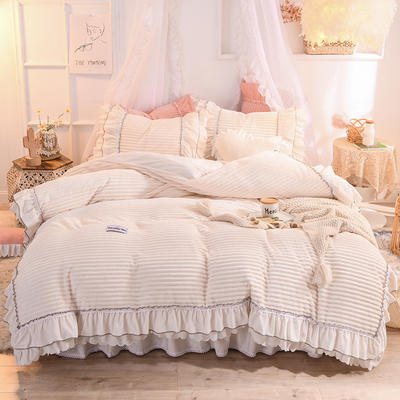 2019新款兔兔絨水晶絨四件套床單款法萊絨魔法絨牛奶絨-黛茜 1.2m床單款三件套 黛茜 奶白