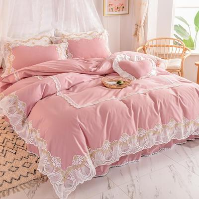 2020新款全棉蕾丝花边四件套床裙款公主风纯棉-绒耀  露茜 1.5m床裙款 露茜-豆沙