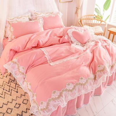 2020新款全棉蕾丝花边四件套床裙款公主风纯棉-绒耀  露茜 1.5m床裙款 露茜-粉