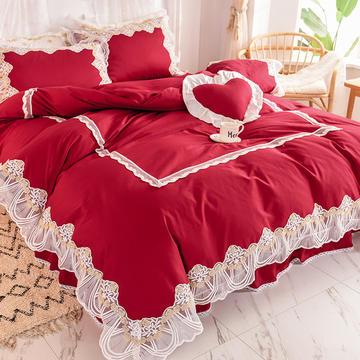 2020新款全棉蕾丝花边四件套床裙款公主风纯棉-绒耀  露茜
