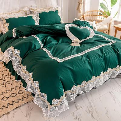 2020新款全棉蕾丝花边四件套床裙款公主风纯棉-绒耀  露茜 1.5m床裙款 露茜-绿