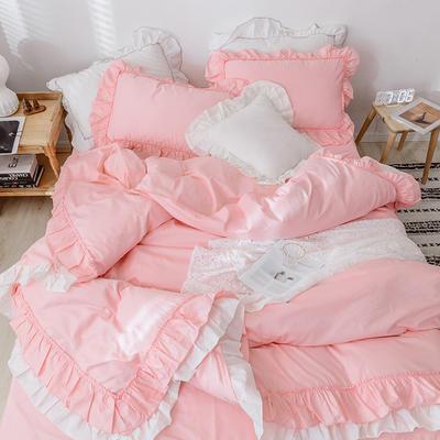 绒耀2020新款全棉韩版花边四件套床裙款公主风- 安娜 1.5m床裙款 粉色