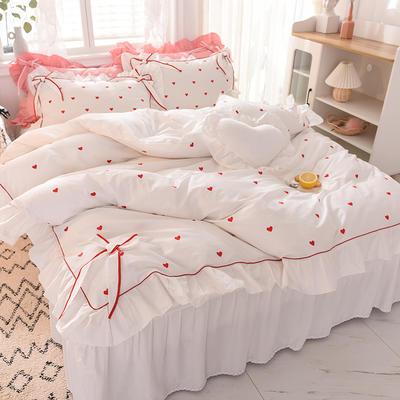 2020新款全棉韩版爱恋系列-床裙款 1.2m床裙款三件套 爱恋-白
