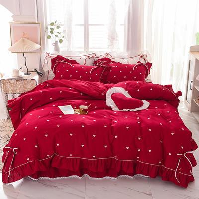 2020新款全棉韩版爱恋系列-床裙款 1.5m床裙款四件套 爱恋-红