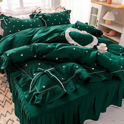 2020新款全棉韩版爱恋系列-床裙款 1.5m床裙款四件套 爱恋-绿