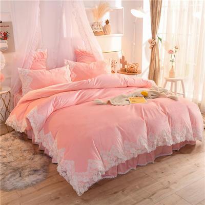 2020新款韩版水晶绒四件套 公主风牛奶绒宝宝绒-仙子 1.5m床裙款四件套 仙子-玉色(绒)
