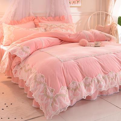 2020新款蕾丝韩版水晶绒四件套 公主风牛奶绒宝宝绒-香奈 1.5m床裙款四件套 香奈 玉色