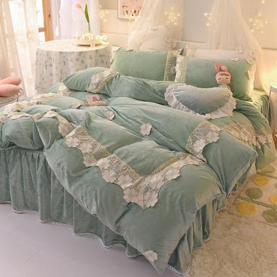 2020新款-水晶绒韩式蕾丝床裙款四件套 1.5m床裙款四件套 樱花-豆绿