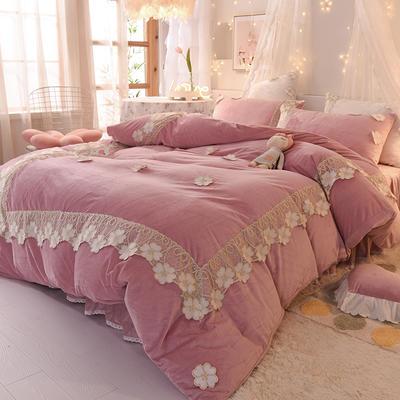 2020新款-水晶绒韩式蕾丝床裙款四件套 1.5m床裙款四件套 樱花-豆沙