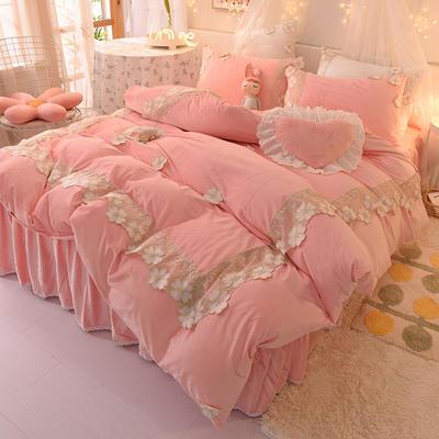 2020新款-水晶绒韩式蕾丝床裙款四件套 1.5m床裙款四件套 樱花-粉玉