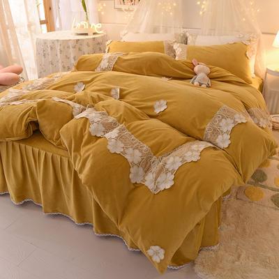 2020新款-水晶绒韩式蕾丝床裙款四件套 1.5m床裙款四件套 樱花-黄