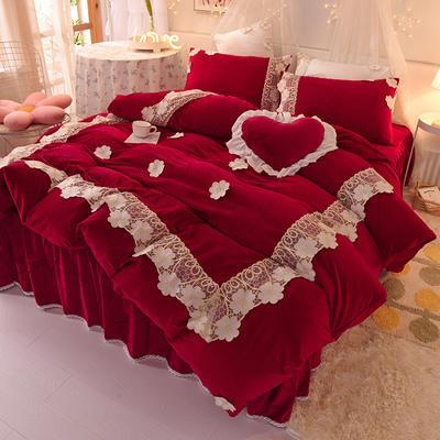 2020新款-水晶绒韩式蕾丝床裙款四件套 1.5m床裙款四件套 樱花-酒红