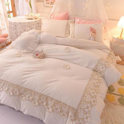 2020新款-水晶绒韩式蕾丝床裙款四件套 1.5m床裙款四件套 樱花-奶白