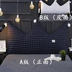 激萌时代   2018新品全棉色织水洗皇冠大靠背 60*90cm 蓝格+白格