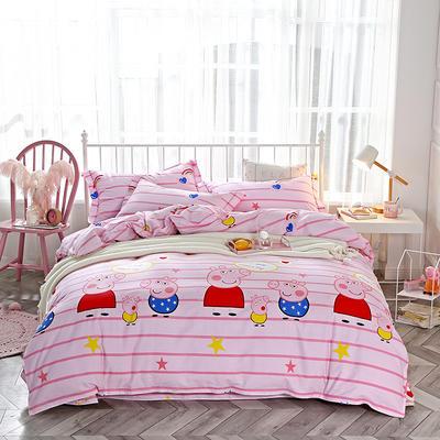 2018新款纯棉匹马棉13370四件套 1.5m(5英尺)床 我爱佩奇-粉