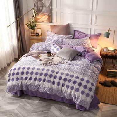 微芙蓉印花四件套 标准 时尚-紫灰