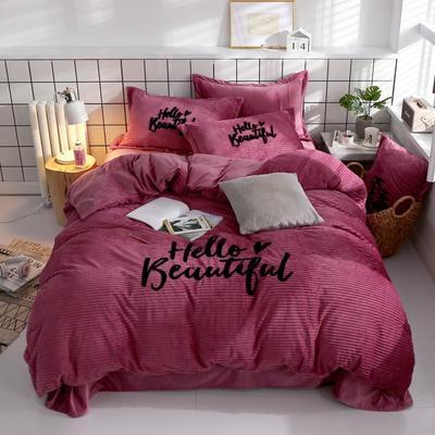 2018新款抽条法兰绒四件套 1.8m(6英尺)床 粉紫色
