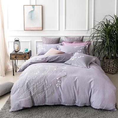 2019新款全棉肌理纹绣花系列四件套-空谷幽兰 1.8m(6英尺)床 空谷幽兰浅紫
