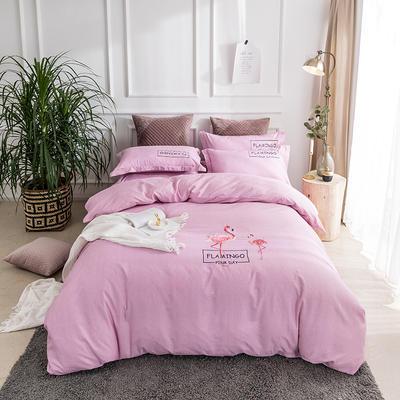 2019新款全棉肌理纹绣花系列四件套-烈火如歌 1.8m(6英尺)床 烈火如歌粉色