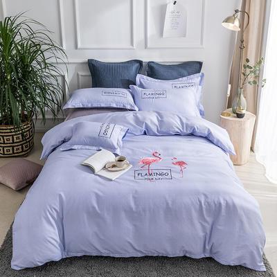 2019新款全棉肌理纹绣花系列四件套-烈火如歌 1.8m(6英尺)床 烈火如歌蓝紫