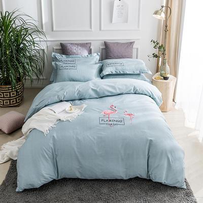 2019新款全棉肌理纹绣花系列四件套-烈火如歌 1.8m(6英尺)床 烈火如歌浅绿