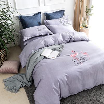 2019新款全棉肌理纹绣花系列四件套-烈火如歌 1.8m(6英尺)床 烈火如歌浅紫