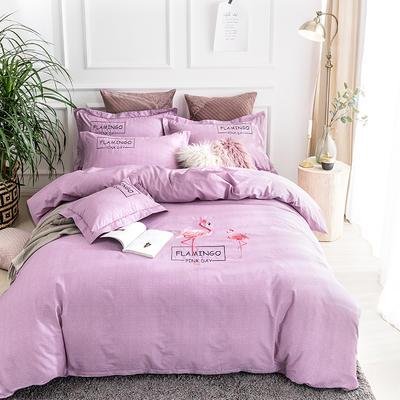 2019新款全棉肌理纹绣花系列四件套-烈火如歌 1.8m(6英尺)床 烈火如歌紫色