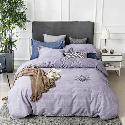 2019新款全棉肌理纹绣花系列四件套-洛克蜜蜂 1.8m(6英尺)床 洛克蜜蜂浅紫