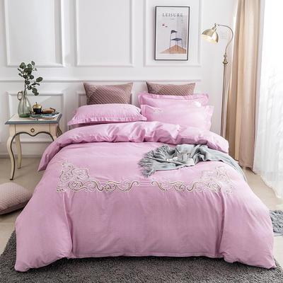 2019新款全棉肌理纹绣花系列四件套-圣佛利亚 1.8m(6英尺)床 圣佛利亚粉色