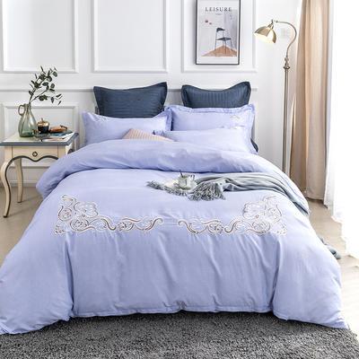 2019新款全棉肌理纹绣花系列四件套-圣佛利亚 1.8m(6英尺)床 圣佛利亚蓝紫