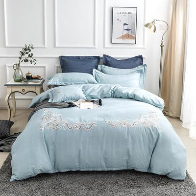 2019新款全棉肌理纹绣花系列四件套-圣佛利亚 1.8m(6英尺)床 圣佛利亚浅绿