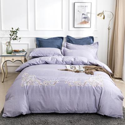 2019新款全棉肌理纹绣花系列四件套-圣佛利亚 1.8m(6英尺)床 圣佛利亚浅紫