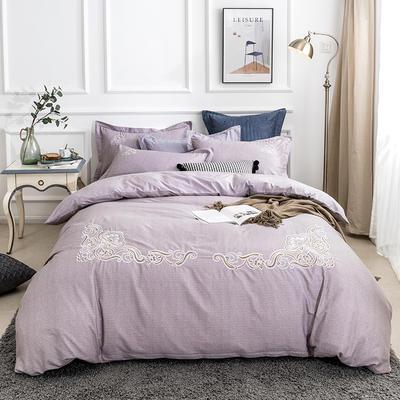 2019新款全棉肌理纹绣花系列四件套-圣佛利亚 1.8m(6英尺)床 圣佛利亚香芋紫