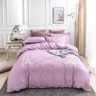 2019新款全棉肌理纹绣花系列四件套-圣佛利亚 1.8m(6英尺)床 圣佛利亚紫色