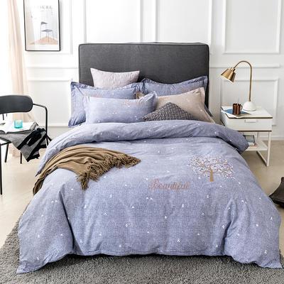 2019新款全棉肌理纹绣花系列四件套-天空之城 1.8m(6英尺)床 天空之城紫灰