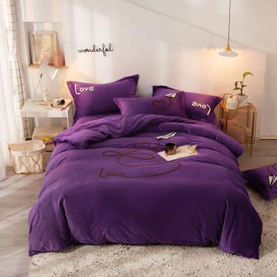 2019新款水晶绒四件套 1.8m床单款 随风漫步-深紫