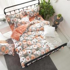 保暖绒四件套(雕花绒系列) 1.8m(6英尺)床 花儿朵朵-桔