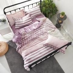 保暖绒四件套(雕花绒系列) 1.5m(5英尺)床 星光闪闪-紫