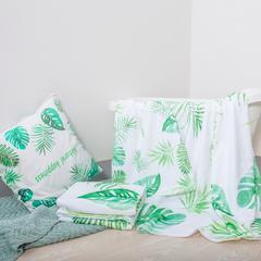 进口棉32s割绒面料毛巾(浴巾70*140 ) 绿叶白