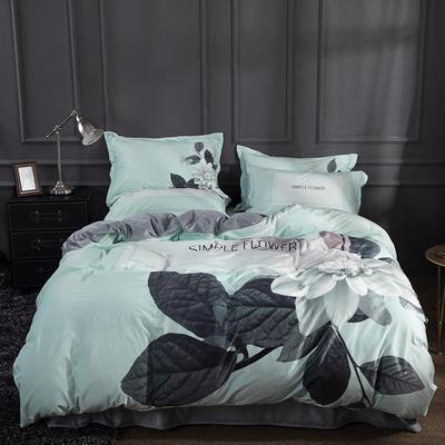 2019新款-宫廷风数码印花法莱绒水晶绒牛奶绒四件套 1.5m(5英尺)床 谧静