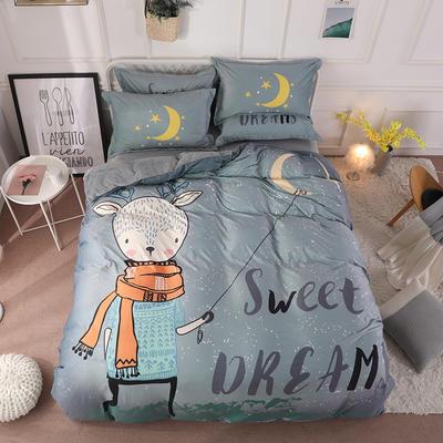 2019新款-宫廷风数码印花法莱绒水晶绒牛奶绒四件套 1.5m(5英尺)床 晚安