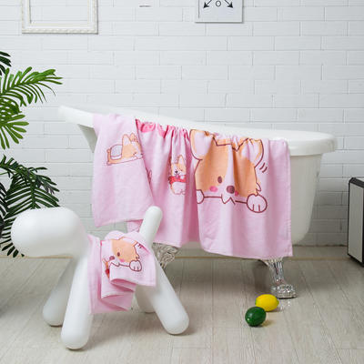 2019新款-ins爆款独家印花毛巾 面巾35*75cm/条粉色柯基