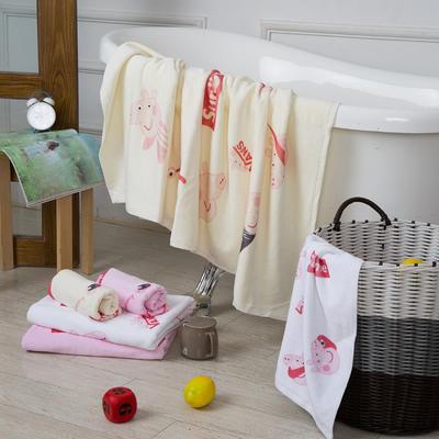 2019新款-ins爆款独家印花毛巾 面巾35*75cm/条潮牌佩奇粉色色