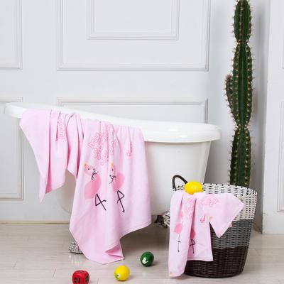 2019新款-ins爆款独家印花毛巾 浴巾70*140cm/条粉色火鸟