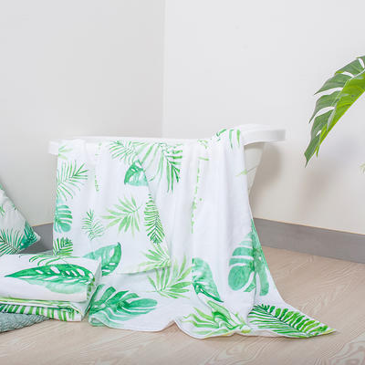 2019新款-ins爆款独家印花毛巾 浴巾70*140cm/条绿叶白