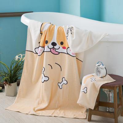 2019新款-ins爆款独家印花毛巾 浴巾70*140cm/条小萌柯基