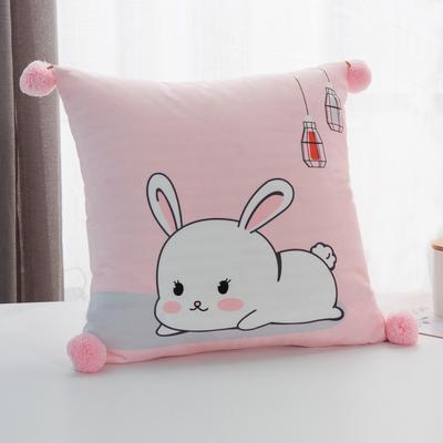 2019新款-方型抱枕 45x45cm/个 小白兔粉
